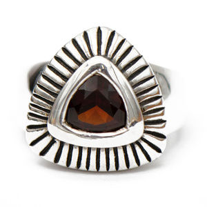 Jewelry - Deep Red Trillion Cut Garnet Ring in Silver